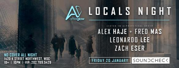 AFTERglow Presents Locals Night with Alex Haje, Fred Mas, Leonardo Lee and Zacheser at Soundcheck