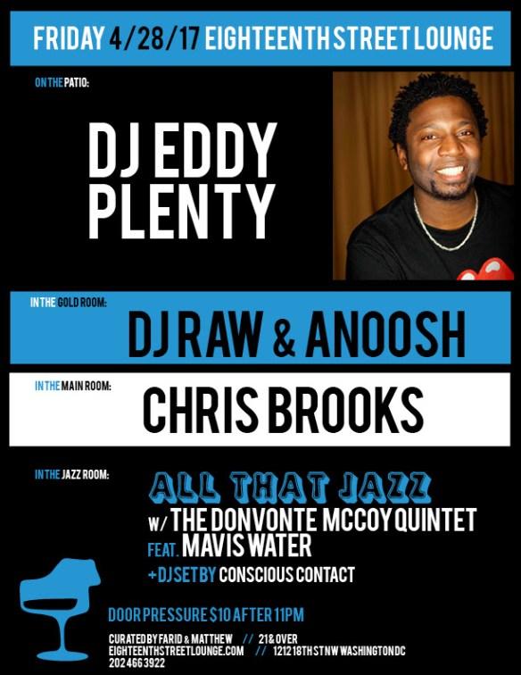 ESL Friday with DJ Eddy Plenty, DJ Raw & Anoosh, Chris Brooks & Conscious Contact at Eighteenth Street Lounge
