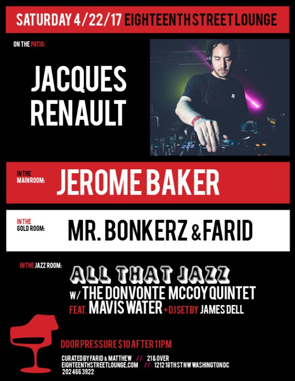 ESL Saturday with Jacques Renault, Jerome Baker, Mr Bonkerz & Farid and James Dell at Eigtheenth Street Lounge