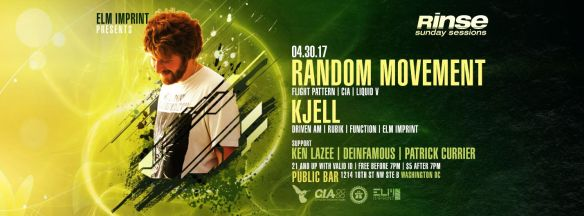 Rinse Sunday Sessions with Random Movement, Kjell, Ken Lazee, Deinfamous & Patrick Currier at Public Bar