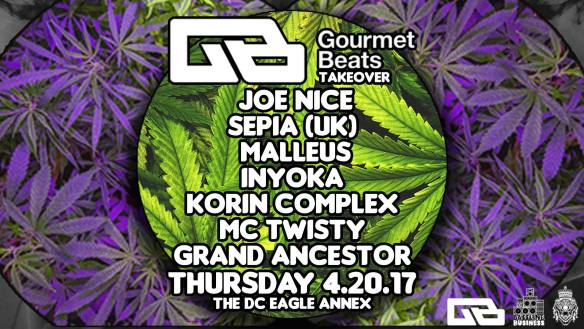 Gourmet Beats Takeover with Joe Nice, Sepia (UK), Malleus, Inyoka, Korin Complex, MC Twist & Grand Ancestor at The DC Eagle