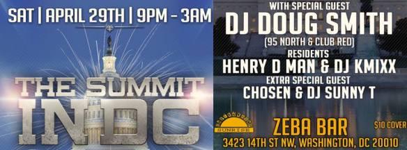 The Summit in DC with DJ Doug Smith, Henry Da Man, DJ K Mixx, Chosen & DJ Sunny T at Zeba Bar