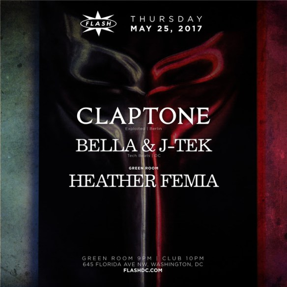 Claptone with Bella & J-Tek at Flash, with Heather Femia in the Green Room