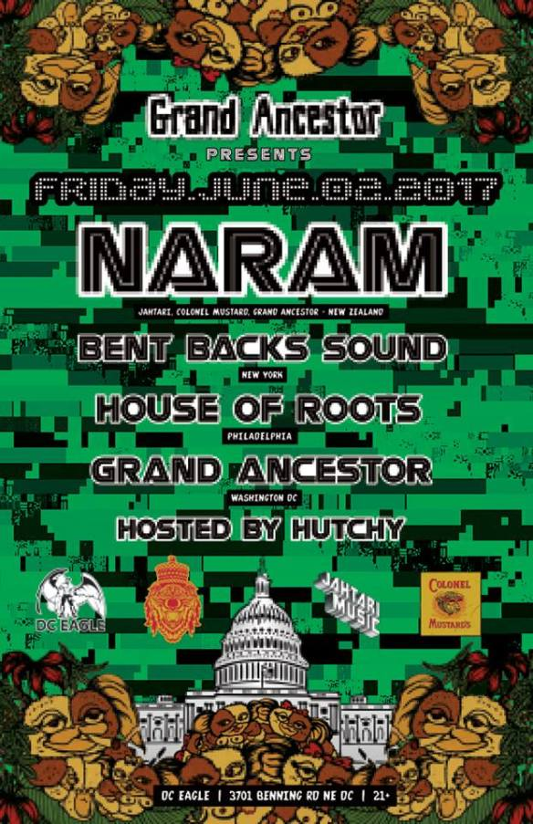 Grand Ancestor Presents Naram, Bent Backs Sound, House of Roots and Grand Ancestor at The DC Eagle