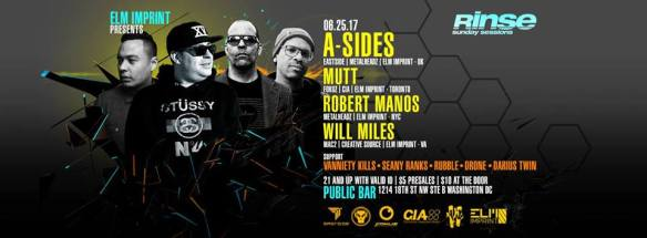 Rinse (Sunday Sessions) with A-Sides, Mutt, Robert Manos & Will Milesat Public Bar