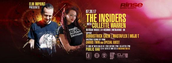 Rinse (Sunday Sessions) The Insiders with Collette Warren, Subdistrick Crew, Mastaflex, Mojo T *& Darius Twin at Public Bar