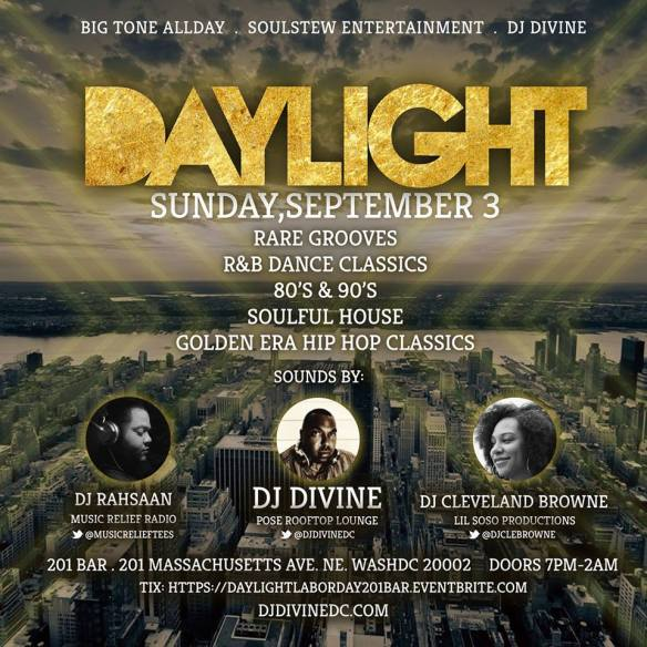 Daylight with DJ Rahsaan, DJ Divine & DJ Cleveland Browne at 201 Bar