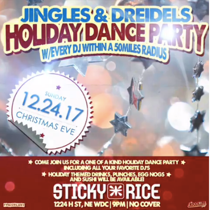 Jingles & Dreidels Holiday Dance Party at Sticky Rice DC