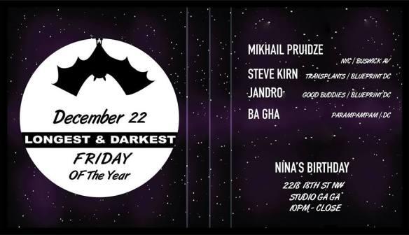 Longest & Darkest Friday with Mikhail Pruidze, Steve Kirn, Jandro & Ba Gha at Studio Ga Ga