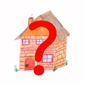 House with a large question mark, jpeg illustration