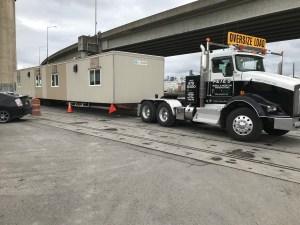 Truck transporting modular