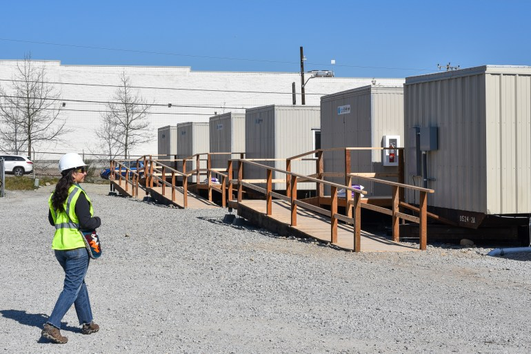 A view of modular units at the Aurora Isolation/Quarantine facility