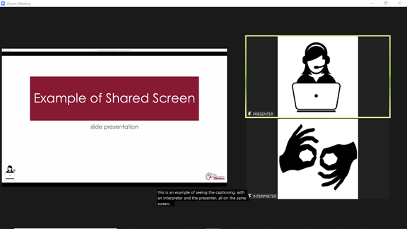 Example of a shared screen