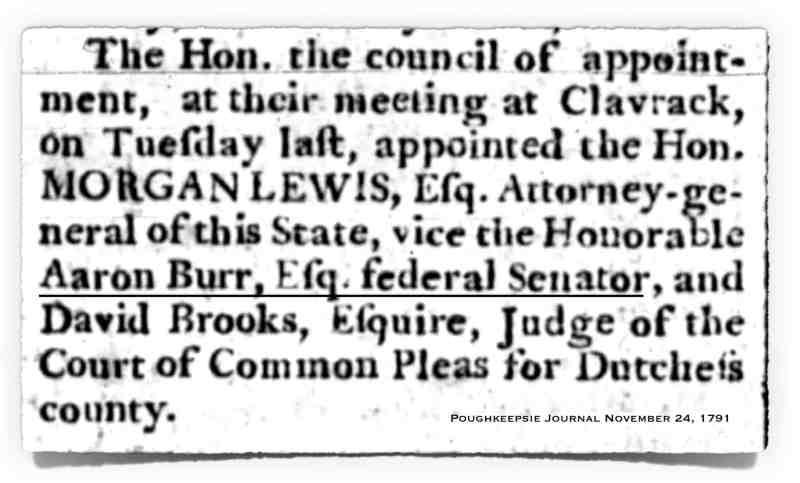 1791 Burr Federal Senator