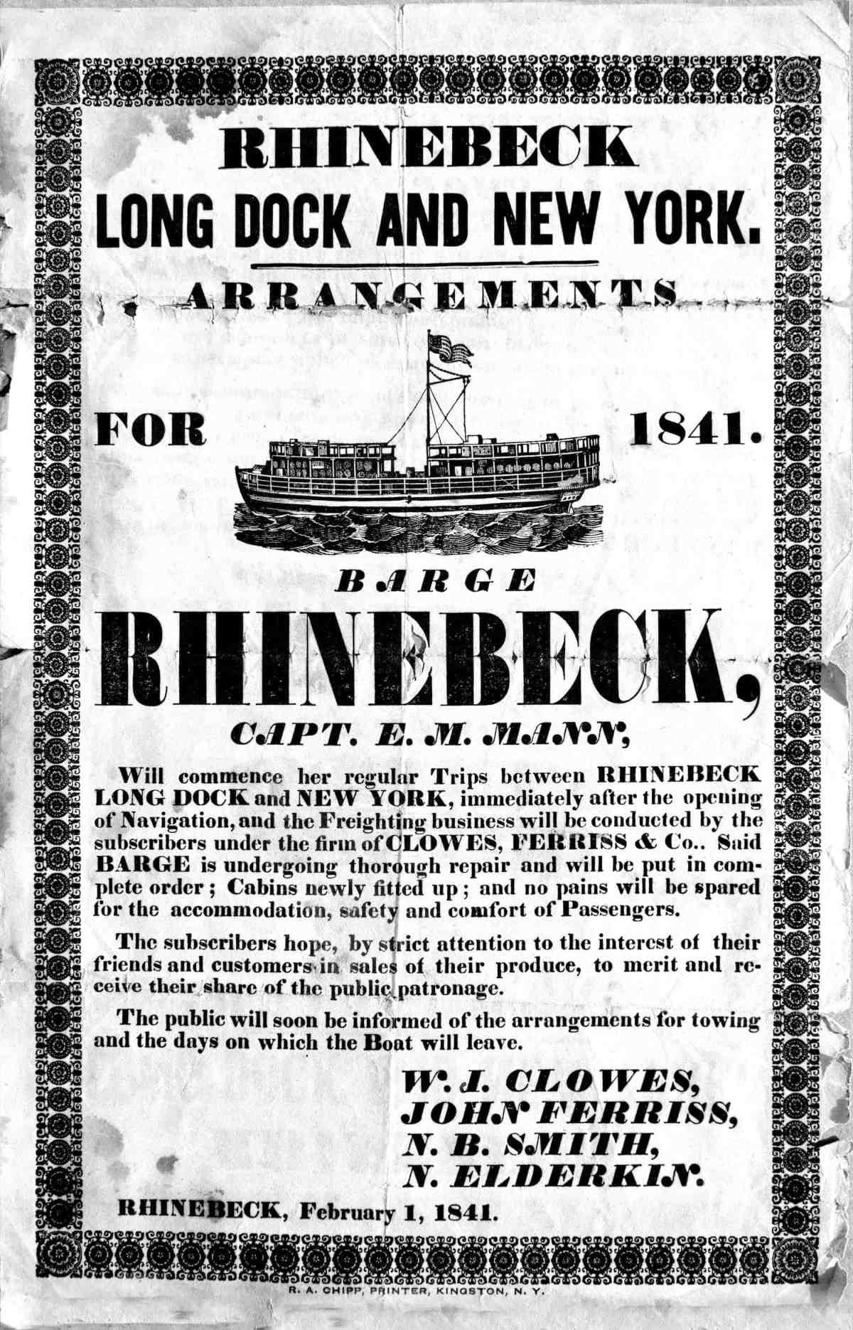 Rhinebeck Barge Clowes 1841