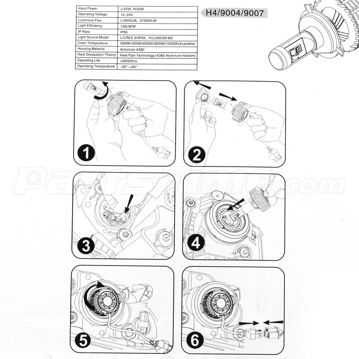 Lm Hb2 Headlamp Dual Beam Conversion Kit Led Bulb
