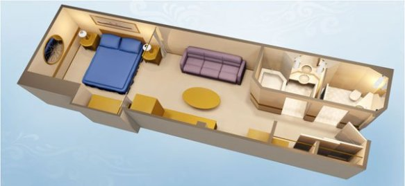 Layout of a Deluxe Inside Stateroom on Disney Cruise Line.