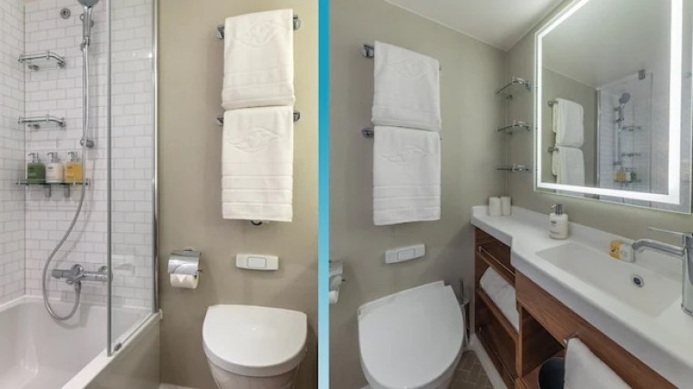 Image of bathroom in a Standard Inside Stateroom on the Disney Wish. (Disney Cruise Line)