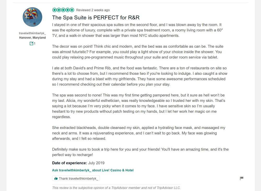 Live! Casino & Hotel Spa Suite review from Tripadvisor.com
