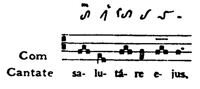 Voorbeeld 4: Salutare: passagegroepen. Eius: Verbrede cadenstorculus.
