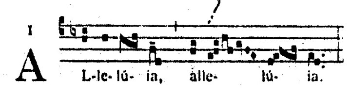 Voorbeeld 1: Alleluia, eerste modus.