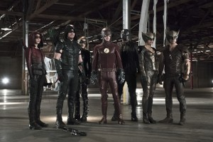 "Arrow -- ""Legends of Yesterday"" -- Image AR408B_379b.jpg -- Pictured (L-R): Willa Holland as Speedy, Stephen Amell as The Arrow, Katie Cassidy as Black Canary, Grant Gustin as The Flash, David Ramsey as John Diggle, Ciara Renee as Hawkgirl and Falk Hentschel as Hawkman -- Photo: Katie Yu/ The CW -- © 2015 The CW Network, LLC. All Rights Reserved."