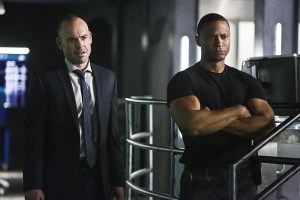 "Arrow -- ""Taken"" -- Image AR415b_0129b.jpg -- Pictured (L-R): Paul Blackthorne as Quentin Lance and David Ramsey as John Diggle -- Photo: Bettina Strauss/ The CW -- © 2016 The CW Network, LLC. All Rights Reserved."