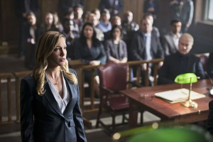 """Arrow -- """"Broken Hearts"""" -- Image AR416b_0014b.jpg -- Pictured (L-R): Katie Cassidy as Laurel Lance and Neal McDonough as Damien Darhk -- Photo: Diyah Pera /The CW -- © 2016 The CW Network, LLC. All Rights Reserved."""