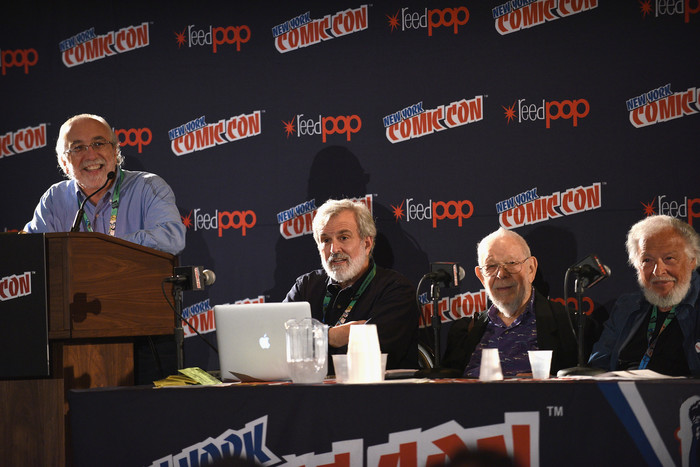 MAD Magazine Editor in Chief John Ficarra speaks with Mad artists and writers Sam Viviano, Al Jaffee, and Nick Meglin, during the  Magazine Celebrates 65-Year Legacy With Legendary Creative Team Reunion at New York Comic Con on October 6, 2017 in New York City.  (Photo by Bryan Bedder/Getty Images for Mad Magazine)