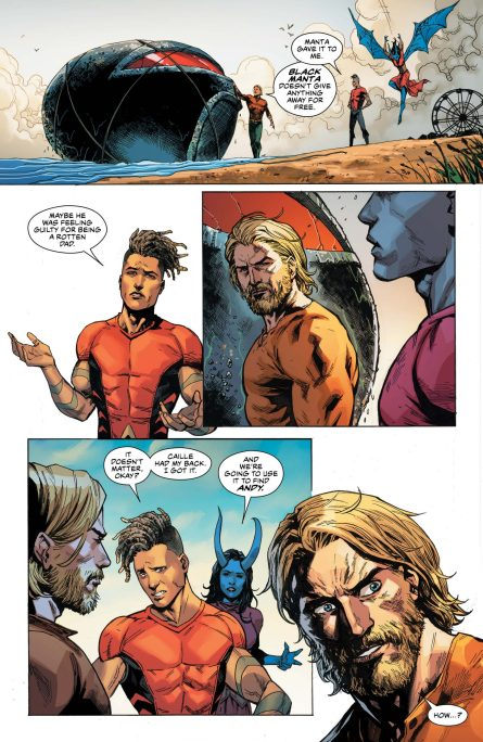 Aquaman, Caille and Jackson planning rescue