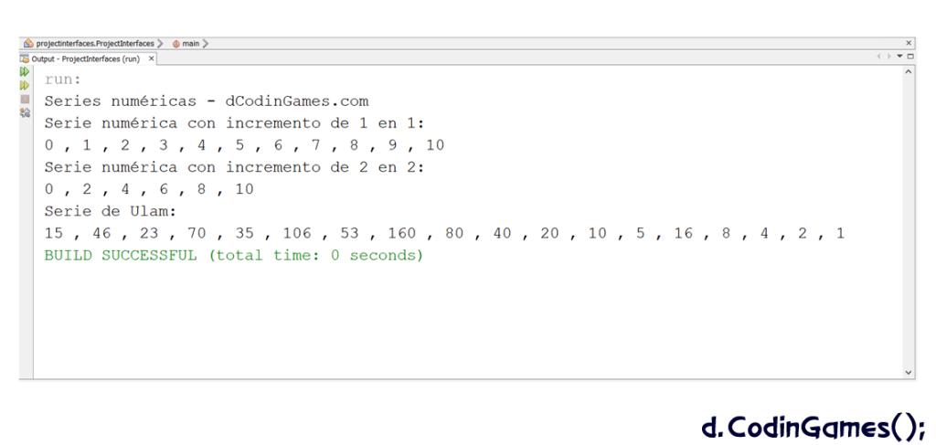 dCodinGames.com - Ejecución del programa que utiliza clases que implementan una interfaz