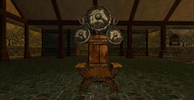 Chaise et grand bouclier des Rohirrim