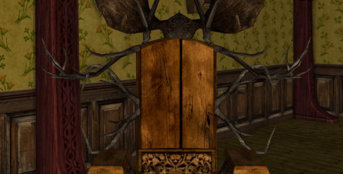 Chaise fantaisie des Rohirrim avec ramures d'élan