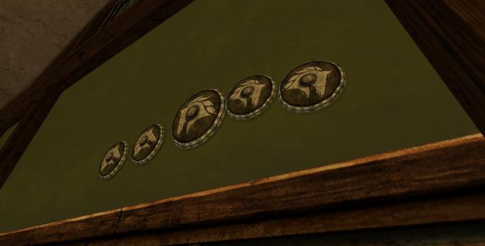 Ensemble de cinq boucliers des Rohirrim
