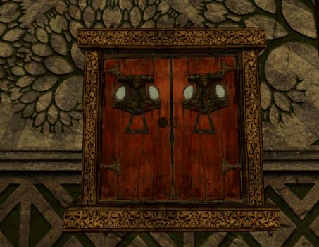 Fenêtre à double battant et cadre en bois des Rohirrim