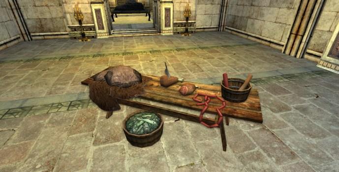 Table de boucher chargée