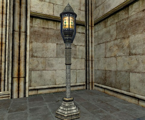 Lanterne sur pied de Minas Tirith avec vitrail (Minas Tirith standing Lantern with Stained Glass)