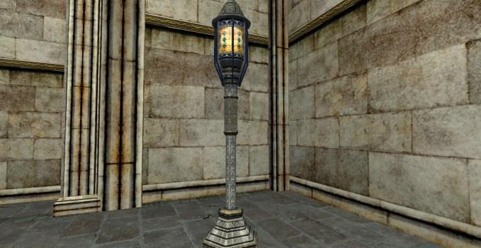 Lampadaire de Minas Tirith à verre décoré