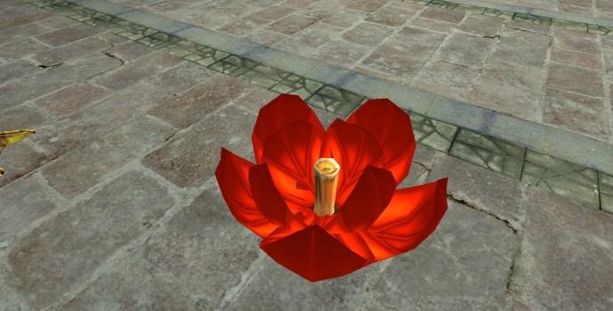 Lanterne Flottante Rouge – Semi-ouverte (Red Floating Lantern – Half-Open)