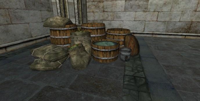 Pile de caisses d'épicier