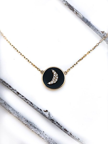 Diamond Crescent Moon and Onyx Necklace 1