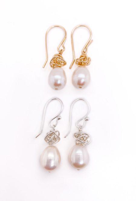 Ball of Yarn Pearl Earrings 4