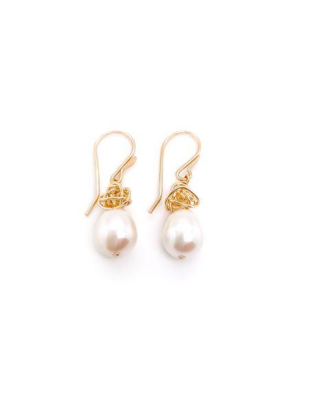 Ball of Yarn Pearl Earrings 2