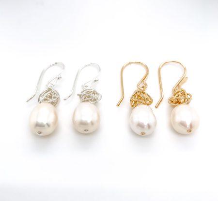 Ball of Yarn Pearl Earrings 1