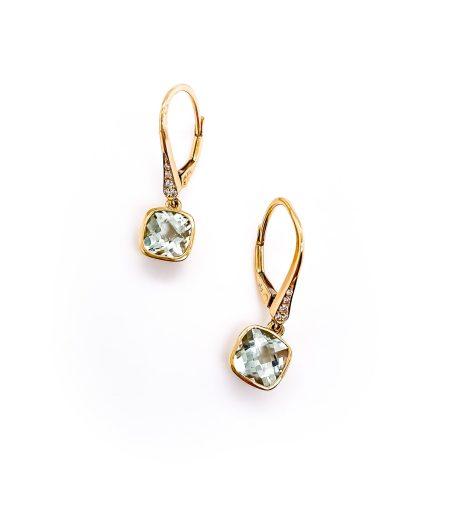 14k Green Amethyst Dangle Earrings 1
