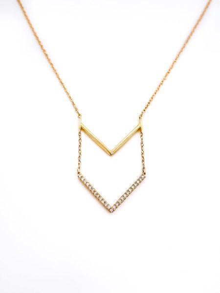 Double Cheveron Diamond Necklace 3
