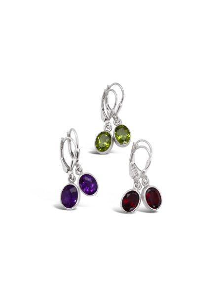 Oval Gemstone Earrings 1