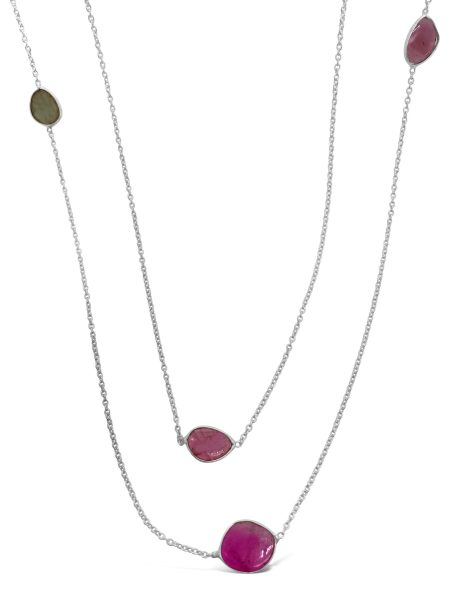 Tourmaline Slice Station Necklace 1