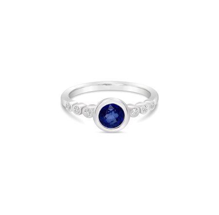 Sapphire Diamond Bubble Bezel Ring 1