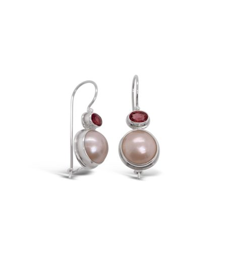 Mabe Pearl and Pink Tourmaline Earrings 1